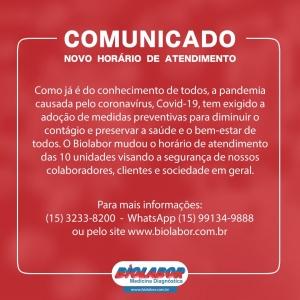 Comunicado NOVO HORÁRIO DE ATENDIMENTO devido a pandemia do coronavírus COVID- 19